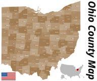 Карта Ohio County Стоковые Фото