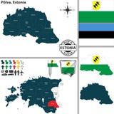 Карта Polva, Эстонии Стоковое Изображение RF