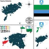 Карта Saare, Эстонии Стоковая Фотография