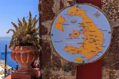 Карта Santorini Стоковая Фотография
