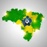 Карта splatter Бразилии с шариком иллюстрация вектора