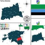 Карта Tartu, Эстонии Стоковая Фотография