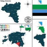 Карта Valga, Эстонии Стоковое фото RF