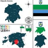 Карта Viljandi, Эстонии Стоковое Изображение