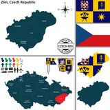 Карта Zlin, чехия Стоковая Фотография RF