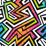 Картина лабиринта граффити безшовная с влиянием grunge Стоковая Фотография