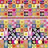Картина абстрактного искусства сердец, звезд и цветков Стоковая Фотография