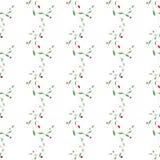 Картина абстрактного флористического вектора безшовная с ветвью, листьями и сердцами скручиваемости хрупкости Стоковые Изображения