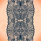 Картина абстрактной ленты шнурка безшовная с элементами цветет Стоковое Изображение