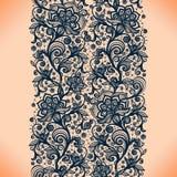 Картина абстрактной ленты шнурка безшовная с элементами цветет Стоковое Фото