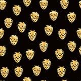Картина абстрактной клубники безшовная Предпосылка золота блестящая Иллюстрация покрашенная рукой бесплатная иллюстрация