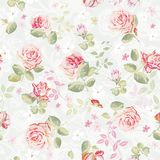 картина абстрактной элегантности флористическая безшовная Красивая текстура иллюстрации вектора цветков с розами Бесплатная Иллюстрация