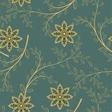 Картина абстрактных геометрических цветков безшовная вектор детального чертежа предпосылки флористический Стоковые Фото