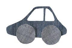 Картина автомобиля от изолированной ткани джинсов, Стоковые Фотографии RF