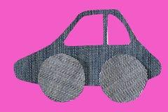 Картина автомобиля от ткани джинсов, на пинке Стоковая Фотография