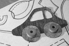 Картина автомобиля от ткани джинсов Стоковая Фотография