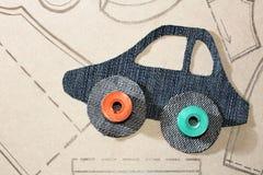 Картина автомобиля от ткани джинсов Стоковые Изображения
