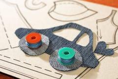 Картина автомобиля от ткани джинсов Стоковая Фотография RF