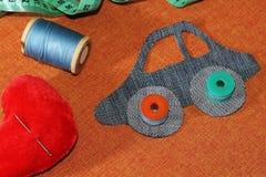 Картина автомобиля от ткани джинсов Стоковое фото RF