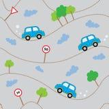 Картина автомобилей шаржа безшовная Шаблон для конструкции Стоковое Изображение RF