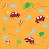 Картина автомобилей шаржа безшовная Шаблон для конструкции Стоковая Фотография