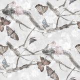 Картина акварели бабочки и цветков, Стоковое Фото
