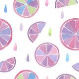 Картина акварели безшовная абстрактных цитрусовых фруктов с падениями на белой предпосылке Стоковое Изображение