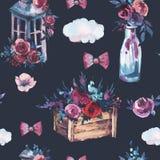 Картина акварели безшовная бутылки с красной розой, затрапезное lant иллюстрация штока