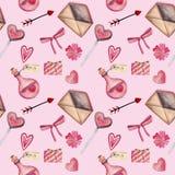 Картина акварели безшовная на день Валентайн с сердцем, ключом, замком, смычком, конвертом, любовью, конфетой, стрелкой, цветком иллюстрация вектора