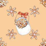 Картина акварели безшовная на теме рождества стоковое изображение rf