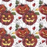 Картина акварели безшовная ноча луны иллюстрации halloween Пугающие тыквы с светлыми глазами иллюстрация штока