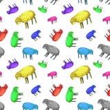 Картина акварели безшовная овец multicolors с закрытыми глазами белизна cogwheel предпосылки изолированная иллюстрацией иллюстрация штока