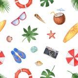 Картина акварели безшовная при seashells, элементы пляжа и тропические листья изолированные на белой предпосылке Стоковое фото RF