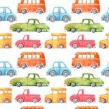 Картина акварели безшовная с автомобилем мультфильма Смешное изображение мультфильма Зачатие перемещения Рука покрасила ретро кар иллюстрация вектора