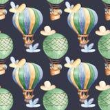 Картина акварели безшовная с воздушным шаром и милыми животными стоковая фотография