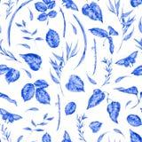 Картина акварели безшовная с голубыми листьями Стоковые Фотографии RF