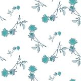 Картина акварели безшовная с голубыми розами и листьями на белой предпосылке Стоковое Изображение