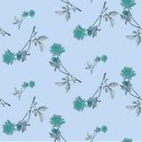 Картина акварели безшовная с голубыми розами и листьями на голубой предпосылке Стоковое Изображение