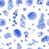 Картина акварели безшовная с голубыми розами, сиренями Стоковое Фото