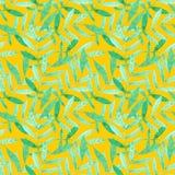 Картина акварели безшовная с зелеными ветвями на оранжевой предпосылке иллюстрация вектора