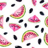 Картина акварели безшовная с изображением арбуза Сочные пульпа и семена для дизайна печати, знамя, плакат, крышка, стоковые фото