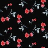 Картина акварели безшовная с красными розами и серый le aves на черной предпосылке Точная яркая и элегантная картина Стоковое Изображение RF
