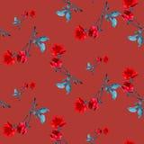Картина акварели безшовная с красными розами и серым цветом выходит на бургундскую предпосылку Стоковая Фотография