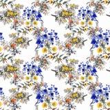 Картина акварели безшовная с красочными цветками и листьями на белой предпосылке, цветочном узоре акварели, цветках внутри Стоковое фото RF