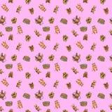 Картина акварели безшовная с милыми новичками медведя Стоковые Фотографии RF