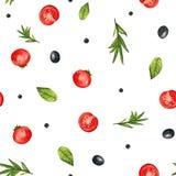 Картина акварели безшовная с овощами и специей иллюстрация штока