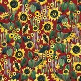 Картина акварели безшовная с полем солнцецветов иллюстрация штока