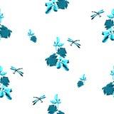 Картина акварели безшовная с розами, листьями и dragonfly бирюзы на белой предпосылке Стоковое Фото