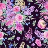 Картина акварели безшовная с розами, сиренями Стоковая Фотография