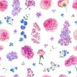 Картина акварели безшовная с розовыми розами, сиренями Стоковое фото RF